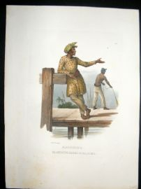 Schinz 1845 Antique Hand Col Print. Malayan Fisherman, Amboine, East Indies 25